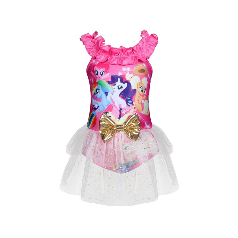 2019 New Style KID'S Swimwear Christmas My Little Pony Cartoon One-piece Europe And America Big Boy GIRL'S Swimsuit 0305