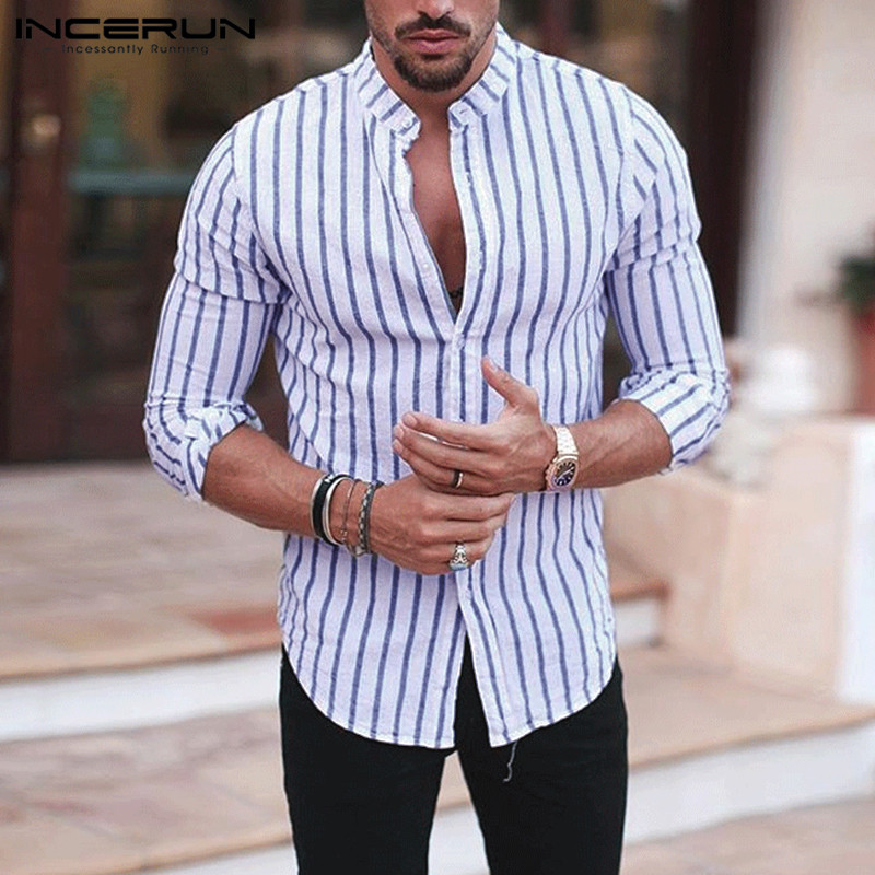 INCERUN Casual Men Striped Shirt Long Sleeve Stand Collar Streetwear Chic Brand Business Shirts Men Camisa Masculina 2020 S-5XL