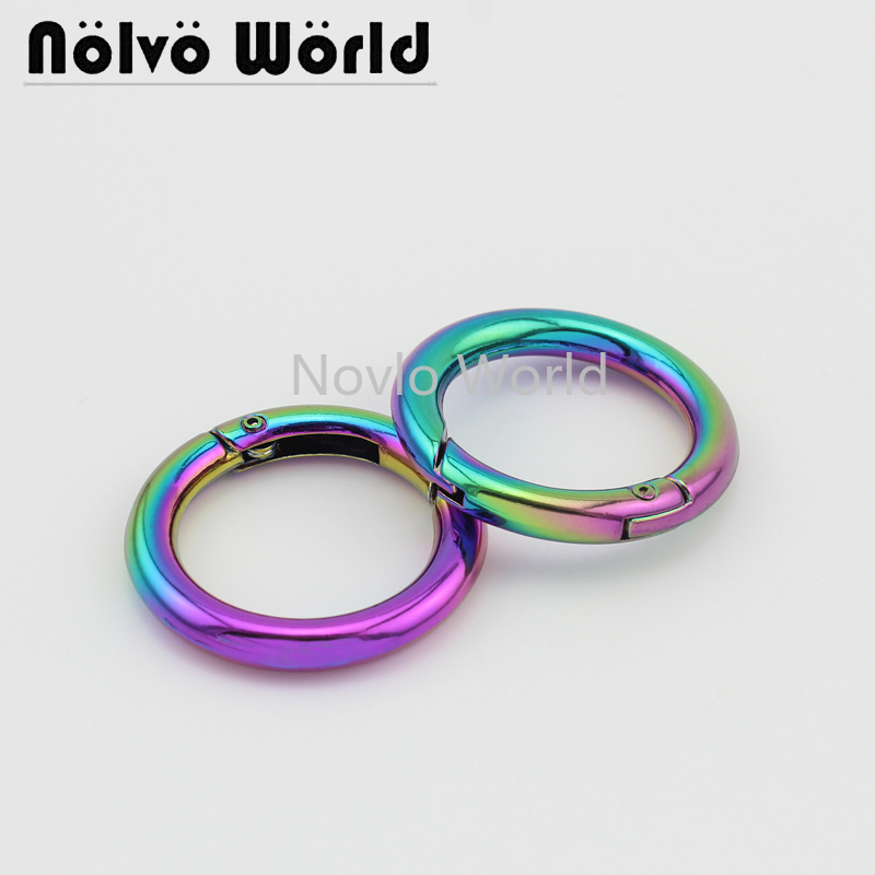 Wholesale 500pcs,inner Width 24.5mm 1 Inch, Rainbow High Quality Metal O Ring Spring Gate Ring For Handbags Hardware Accessories