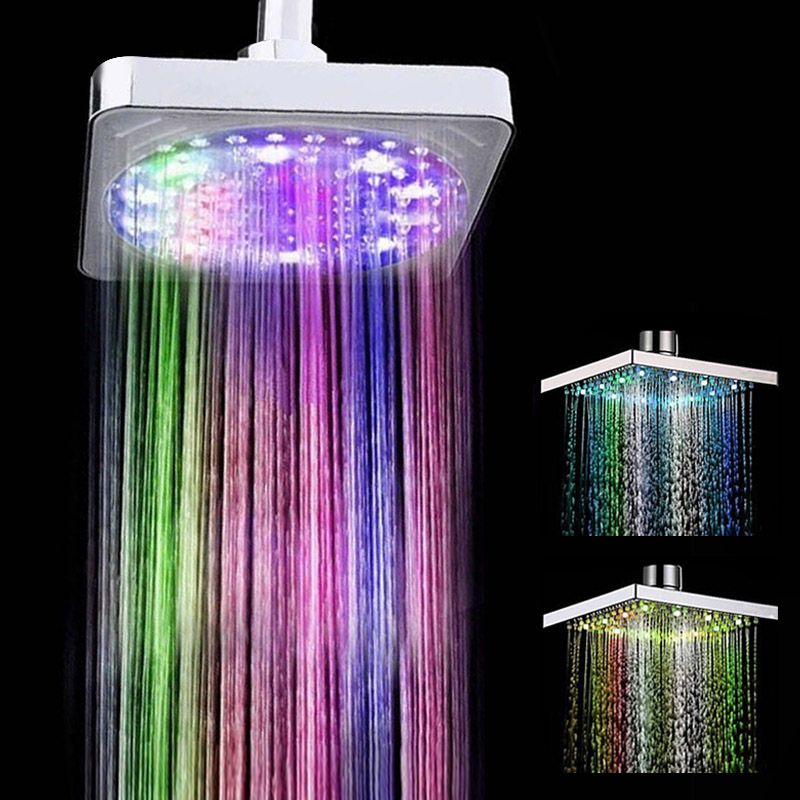 7 Color Changing Shower Head No Battery Automatic Waterfall Shower Single Round Bathroom Showerhead LED Rainfall Shower Head