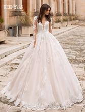 KEENRYAN Sexy Deep V neck Long Sleeve Princess Wedding Dress Appliques Bride Dress Illusion Back Wedding Gowns Vestige De Noiva