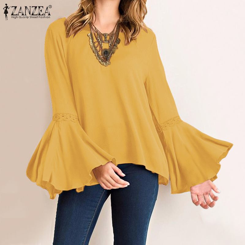 2019 Office Lady Work Chic Shirt ZANZEA Plus Size Women Blouse Casual Long Flare Sleeve Blusas Solid Asymmetric Tunic Blusas 5XL