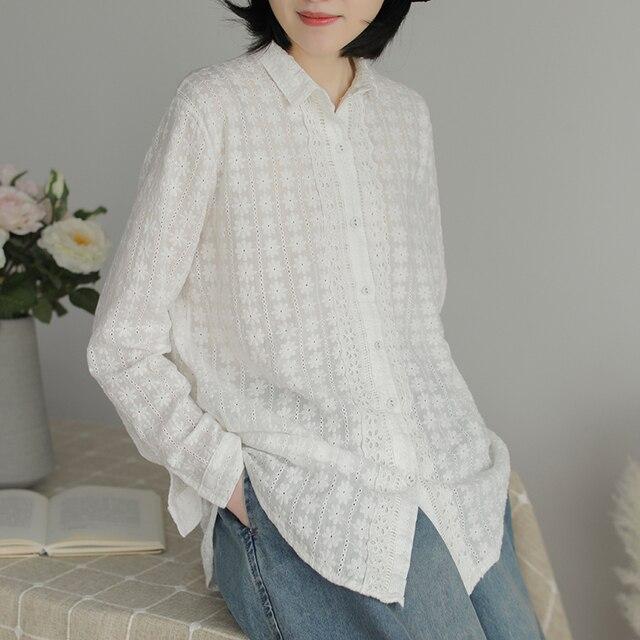 2020 autumn full daisy flowers embroidery long sleeve white shirt blouse mori girl lolita 1