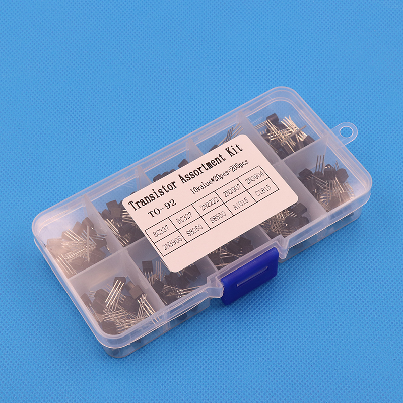 BC337 BC327 2N2222 2N2907 2N3904 2N3906 S8050 S8550 A1015 C1815 Transistor Assortment Kit 10value= 200PCS,Transistors + Box Pack