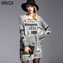 2016 New Design High Quality Womens Fashion Sweaters Print Slash Neck Pullovers Computer Knitted 6013