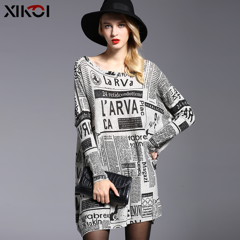 XIKOI Autumn New Fashion Letter Print Women Sweater Knitted Oversized Pullover Winter Warm Top Wool Clothes For Women Pull Femme