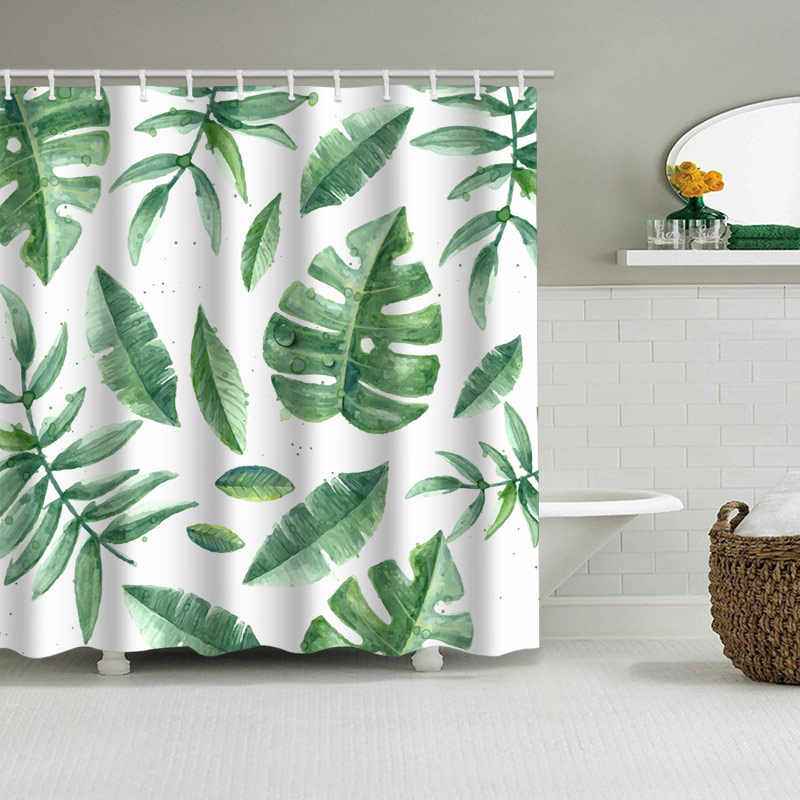 green tropical plants shower curtain