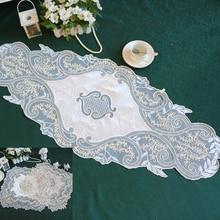 2размер современные кружева скатерть настольный флаг коврик журнальный комод тумбочка крышка ткань свадьба рождественские украшения