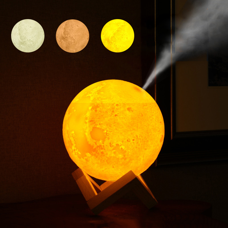 3D Moon light Air HUmidifier 880ML Diffuser Aroma Essential Oil USB Ultrasonic Humidificador Night Cool Mist Maker Purifier|Humidifiers| |  - title=