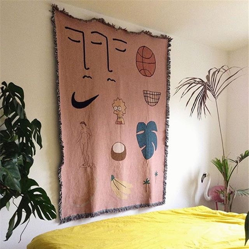 Pink Hawaii Throw Blanket Multifunction Sofa Covers Dust Cover Blankets for Bed