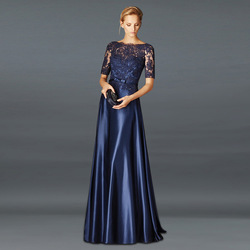 Royal 2020 Mother Of The Bride Dresses A-line satin Half Sleeves Appliques  Long Wedding Party Dresses Mother Dress For Wedding