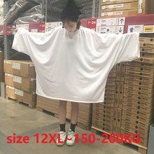 T-shirt col rond pour femme, décontracté, ample, disponible en blanc et en noir, grande taille, 12XL, 150kg, 200kg, été