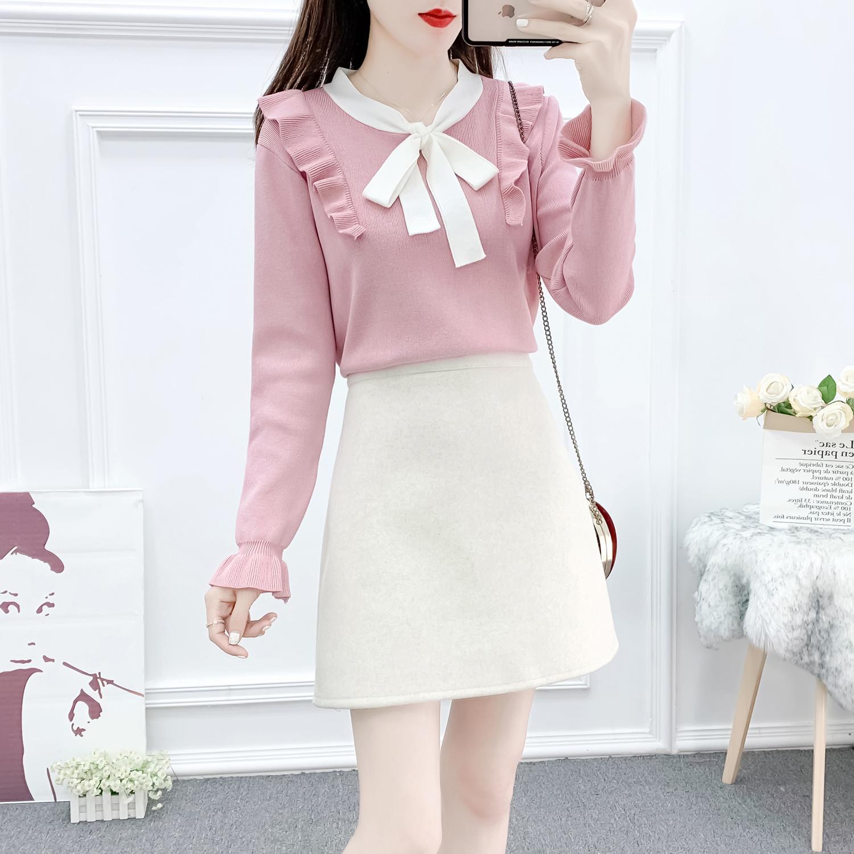 Women/'s Autumn Winter Sweater Dress Korean Fashion Bowknot Knitting Hit Color A