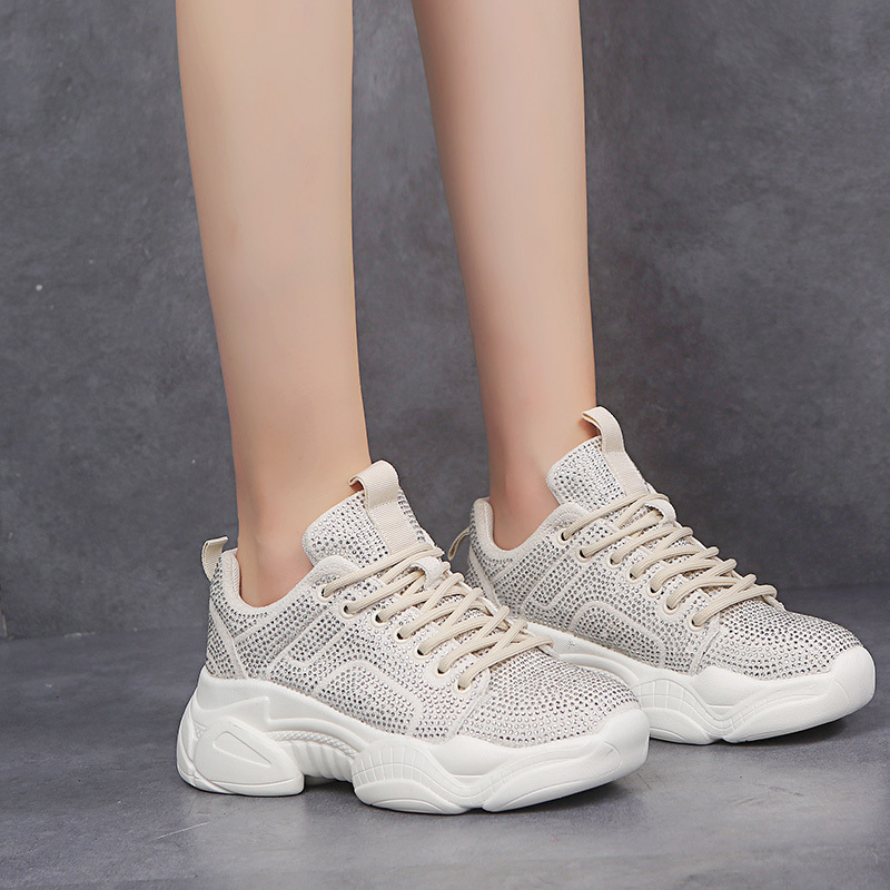 Fujin Sneakers Women Autumn Fashion Thick Bottom Shoes Dropshipping Breathable Crystal Polka Mesh Leisure Women Chunky Sneakers in Women 39 s Vulcanize Shoes from Shoes