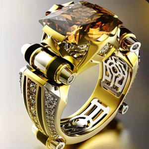 Classic Fashion Gold With Black Stone Men's Ring Steampunk Vintage Engement Lovly Wedding Gift Male Trendy Jewelry