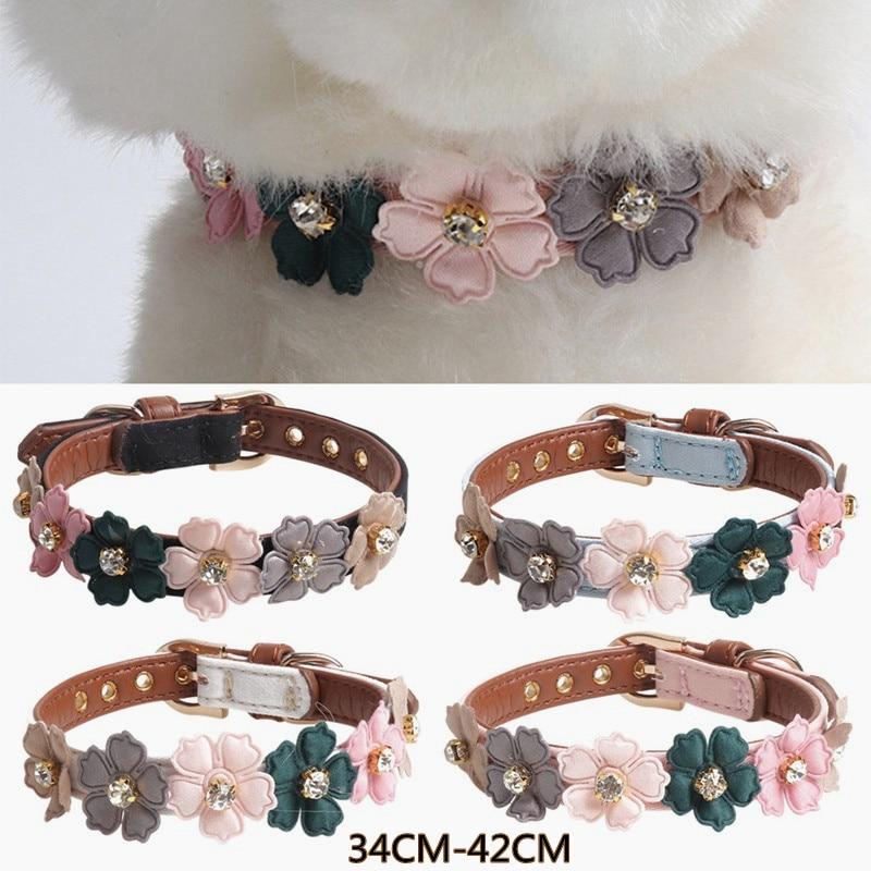 Ошейник для собак, кошек, кожаные блестящие ожерелья с цветами, ошейники для домашних животных для маленьких, средних, больших собак, персон...
