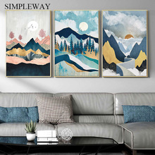 Contemporary Line Drawing Mountain Sunset Vintage Poster Abstract Landscape Wall Art Print Modern Painting Decorative Picture vintage abstract print jeggings