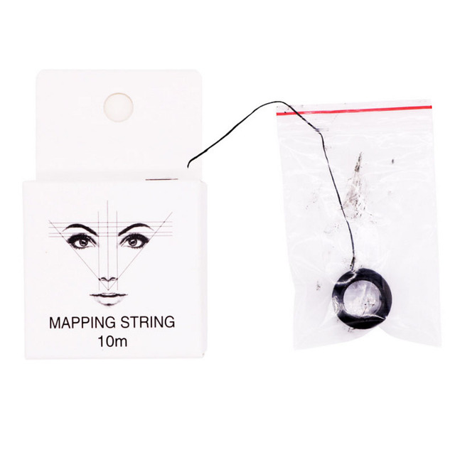 Pre-Inked Mapping String for Eyebrow Measuring Made From Natural Bamboo Charcoal Thread. Microblading Supply 10Meter 3