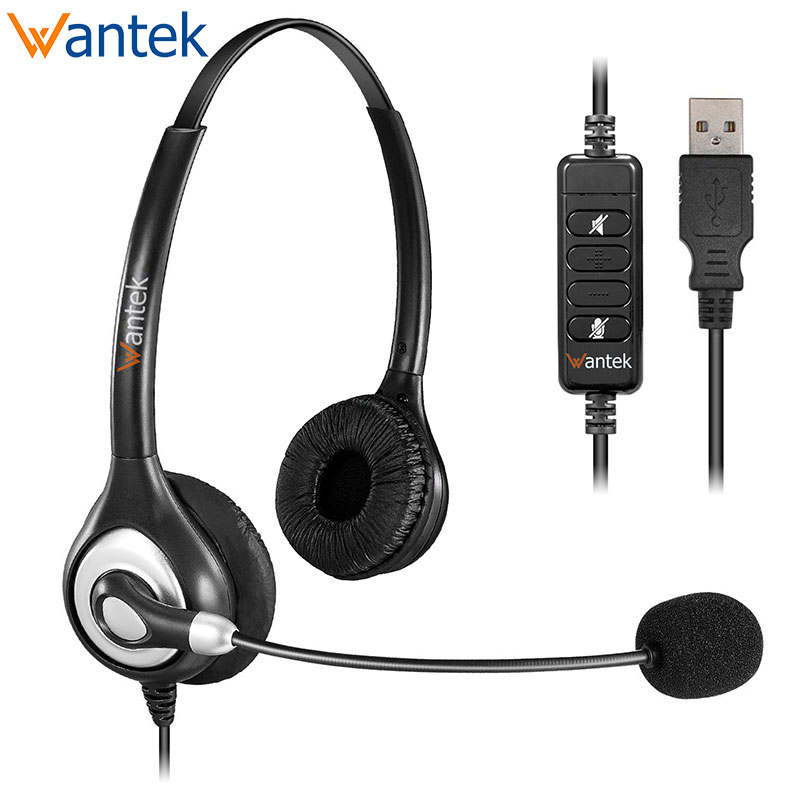 Usb Headsets Stereo With Noise Cancelling Mic And In Line Controls Wantek Uc602 Business Headset For Skype Softphone Call Center Headphone Headset Aliexpress