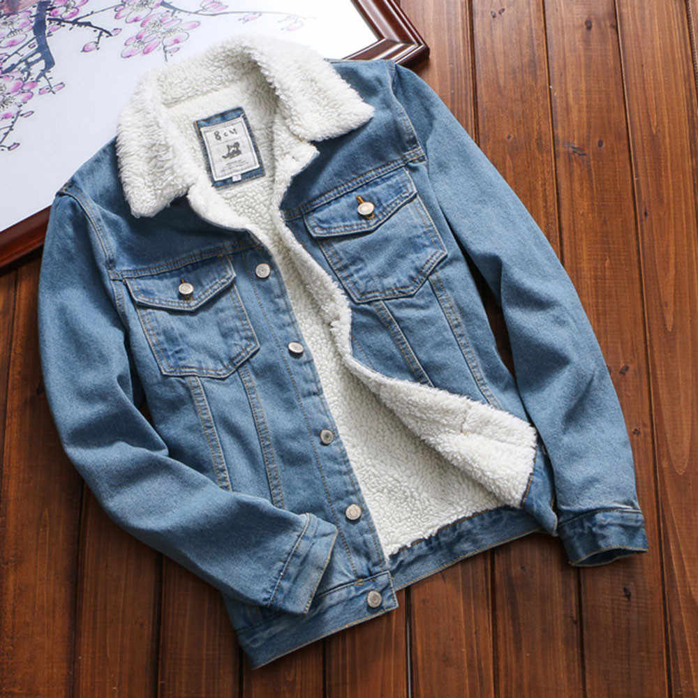 JAYCOSIN Fur Jeans Denim Upset Jacket Women'S Autumn Winter Vintage Loose Coat Front Button Flap Pockets Blue Bomber Jacket Coat