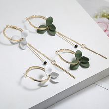 Womens Korean Asymmetric Earrings White/Green Flower Crystal Wedding Jewelry Gifts Bridal Charm