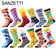 SANZETTI 12 ペア/ロット卸売おかしい男性のコーマ綿カラフルな靴下ダチョウサメパターンノベルティ因果ドレスウェディング靴下
