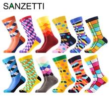 SANZETTI Calcetines coloridos de algodón peinado para hombre, calcetín informal, novedad, diseño de tiburón avestruz, 12 par/lote, venta al por mayor