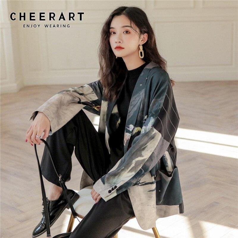CHEERART Designer Women Blazers And Jackets Print Patchwork Plus Size Blazer Loose High Street Fashion Autumn Blazer