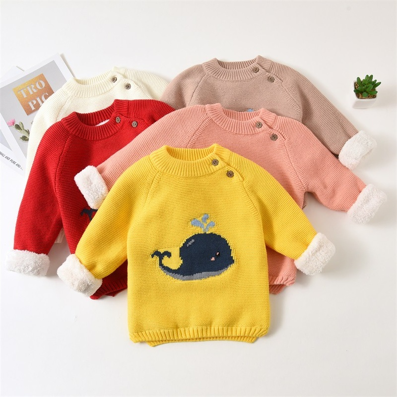 Teenster Newborn Baby Girl Clothes Winter Fleece Thickened Sweaters Toddler Boys Tops Winter Warm Whale Embroidery Outfits