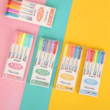 JIANWU 5Colors/Box Morandi Color Double Head Highlighter Ins Cold Color Eye Protection Fluorescent Pen for Student Supplies