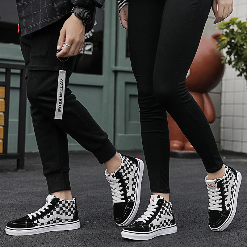 Couple shoes high to help classic canvas shoes flat shoes checkerboard black and white lattice