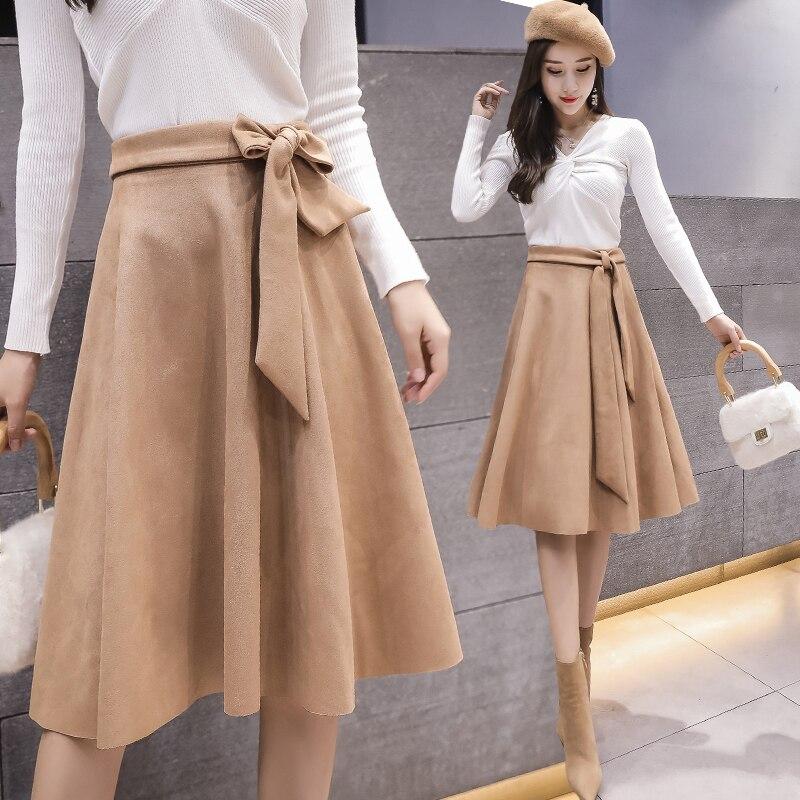 Vintage Suede Skirts Women 2019 New Korean Style Spring Autumn High Waist Solid Bandage Knee-length Midi A Line Skirt Faldas