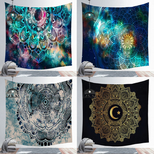 Psychedelic Wall Tapestry Boho Mandala Moon Tapestry Wall Hanging Hippie Sun Tapestry Wall Art Decor for Bedroom Living Room