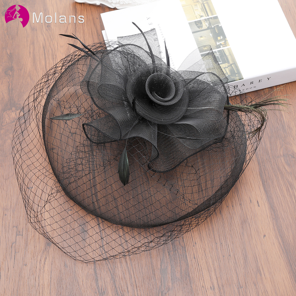 MOLANS Classical Wedding Small Top Hat Bridal Hair Accessories for Women Married Black White Color Party Photograph image