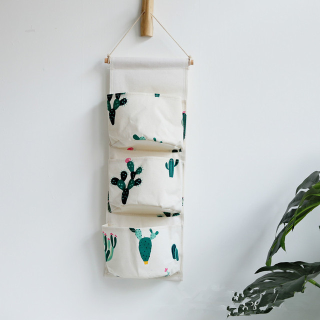 3 Pockets Cactus Pineapple Makeup Wall Hanging Storage Bag Organizer Container Cosmetic Sundries Organiser Pouch Wardrobe Closet