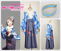 Game LoveLive!Sunshine!! Watanabe You Cosplay Costume Custom Women Dress Blue Taisho Kimono Traditional Kimono Hairband Wig