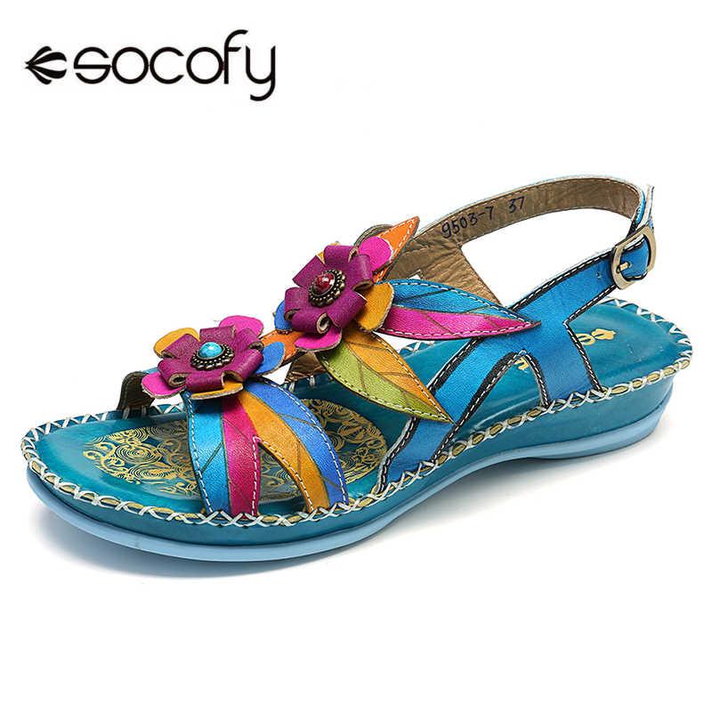 Socofy couro genuíno splicing pintados à mão retro floral costura cinta fivela macia sandálias retro sapatos de verão senhoras