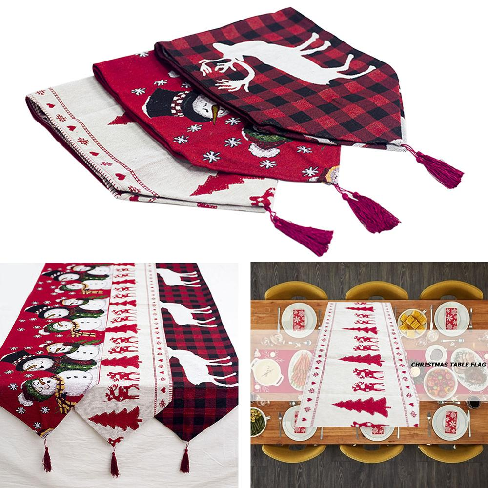 Christmas Decoration Linen Printed Table Flag Table Runner Printed Tassel Tablecloth Placemat Hotel Home Festival Decoration New
