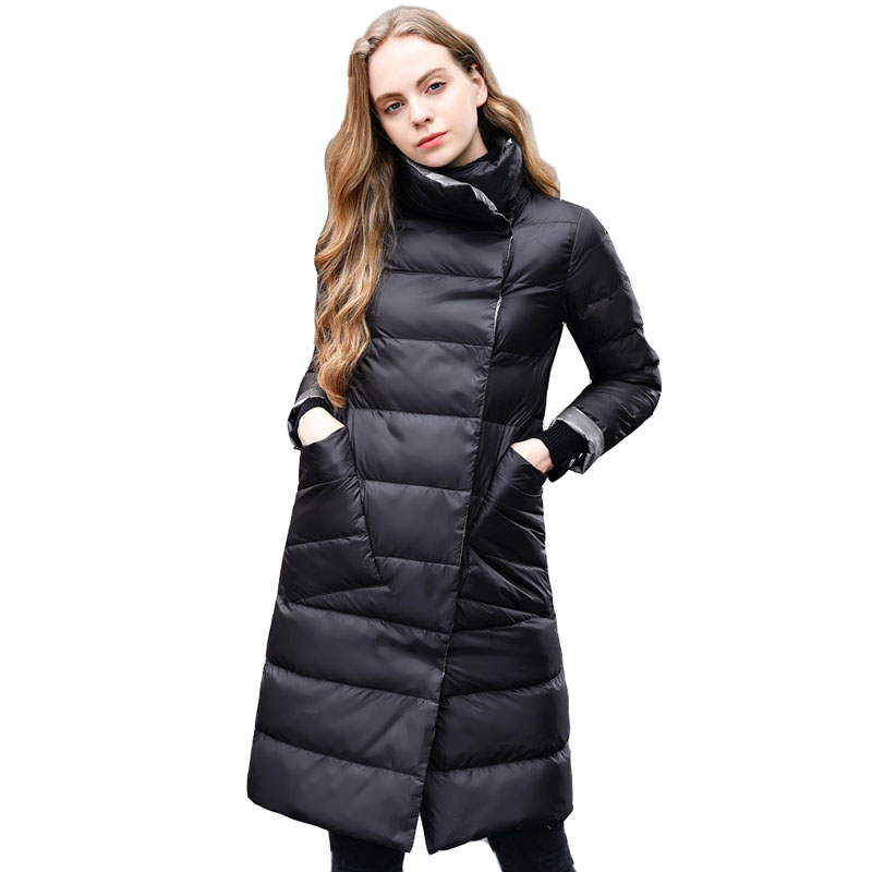 New Women Double Sided   Down   Long Jacket Winter Turtleneck White Duck   Down     Coat   Double Breasted Warm Parkas Snow Outwear Female