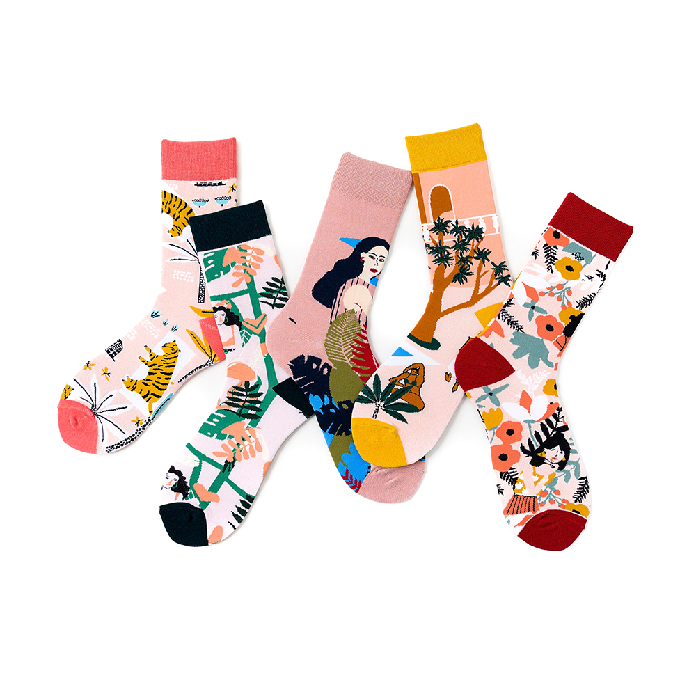 1 Pair Women Socks Cotton Funny Socks Tiger Animal Female Socks Colorful Art Lover Socks 35-40EUR