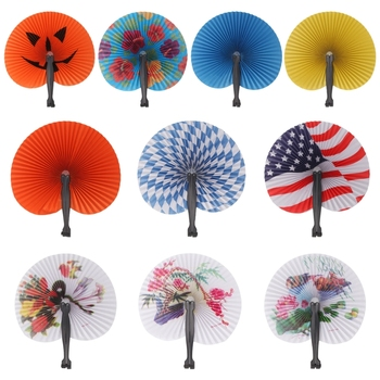 Paper Hand Held Foldable Paper Fan For Children Themed Party Decoration Portable Fan for Home decoration image