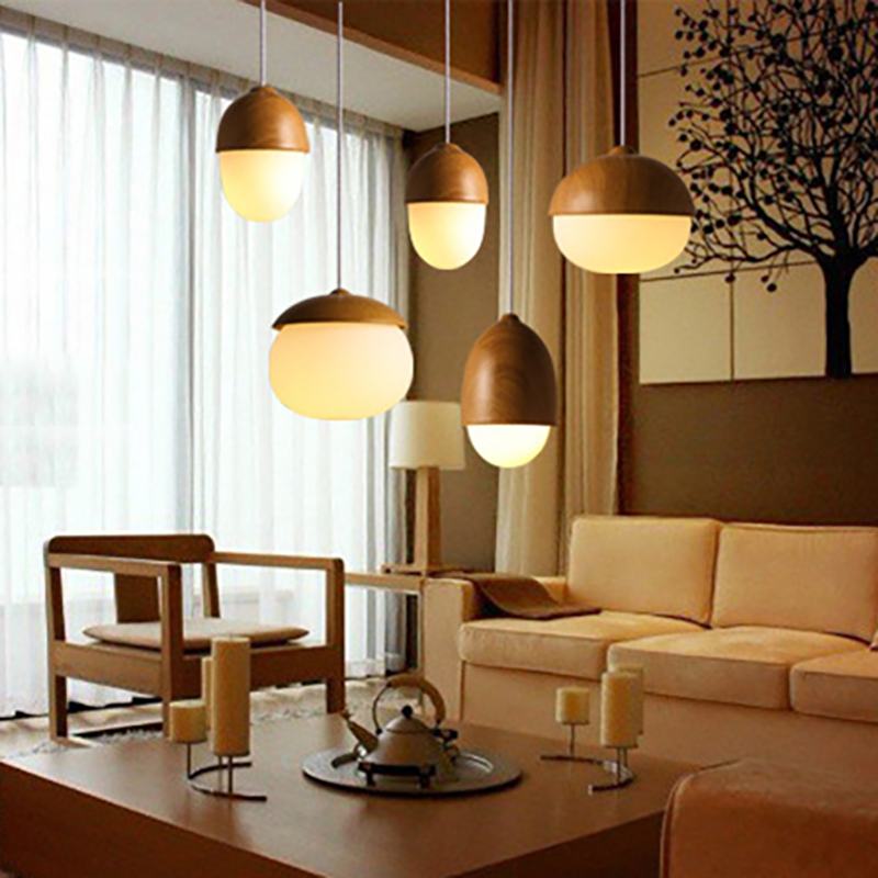 Creative Glass and Wood Nuts Pendant Lights Warm Yellow and White Bulb Lamp