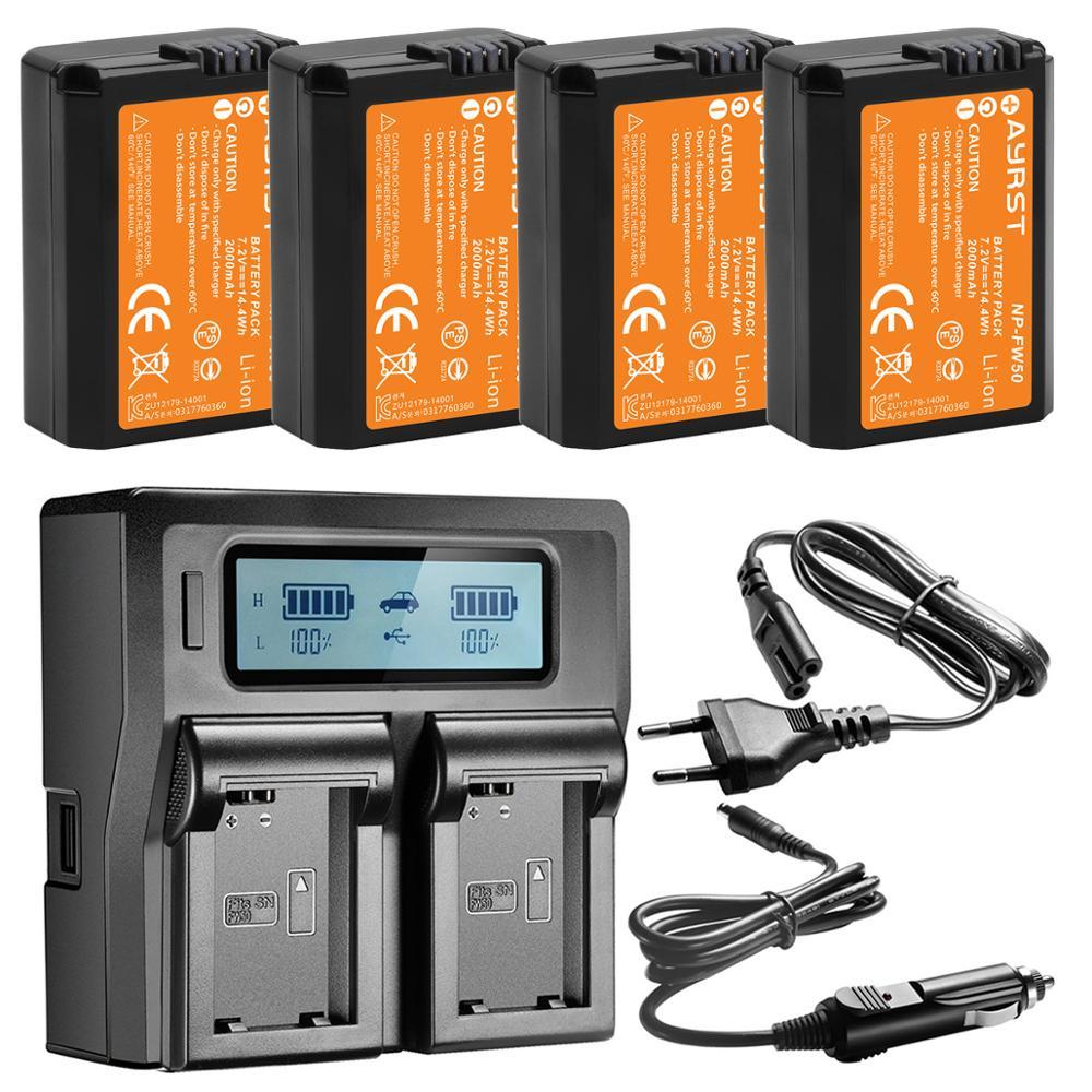 4 Pièces 2000mAh NP-FW50 NPFW50 Batterie + rapide Double Chargeur pour Sony Alpha a6500 a6300 a7 a7R a7R II a7II NEX-3 NEX-3N NEX-5 NEX-7