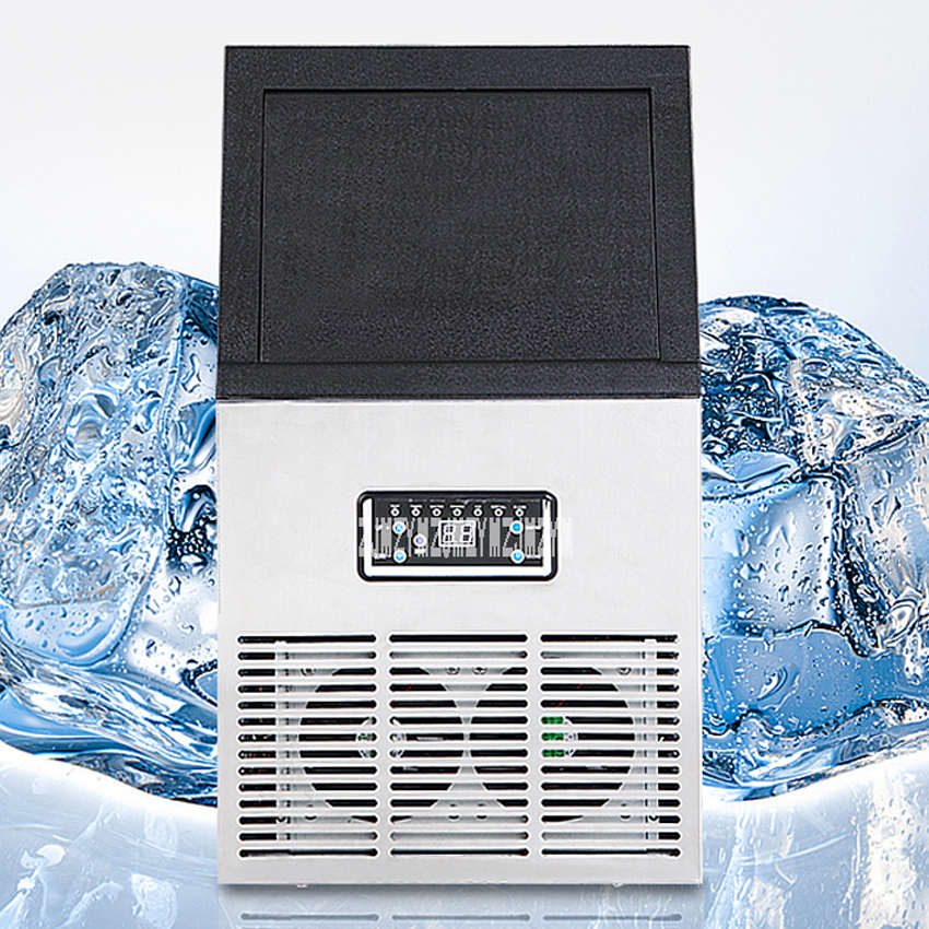 Commercial Ice Machine 60KG Barrel Small Tea Shop Bar Table Mini Automatic  Ice Cube Making Machine 220V/110V 240W SK-60FF