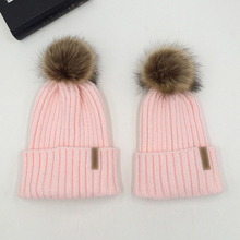 Mom And Kids Knitted Fur Pom Beanie Hats RK