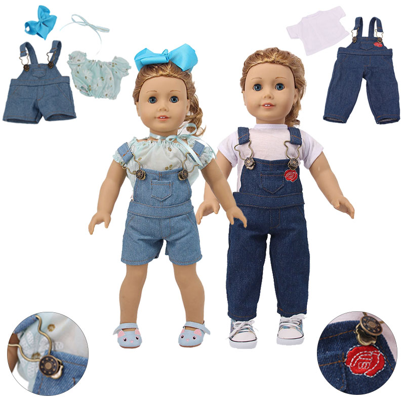 Doll Clothes 3Pcs Jeans Suspenders Adjustable Straps&T-shirt For 18 Inch American&43 Cm Baby New Born Doll Generation Girl`s Toy