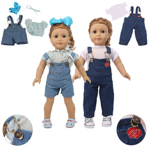 Doll Clothes 3Pcs Jeans Suspenders Adjustable Straps&T-shirt For 18 Inch American&43 Cm Baby New Born Doll Generation Girl`s Toy(China)
