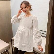 6602 # белая хлопковая блузка для беременных Весенняя корейская