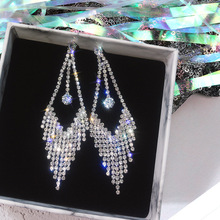 S925 Silver needle tassel earrings female temperament Korea personality Joker exaggerated  long