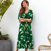 цена Seluxu 2019 Floral Print Women Dress Sexy V-Neck Women Dress Half Sleeve Dress High Waist loose Tassel Dress Hem Split Dress в интернет-магазинах